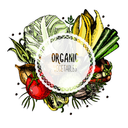 Label organic vegetables on a white background