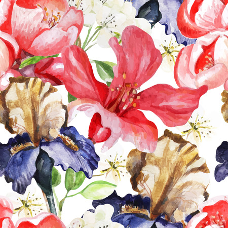 Seamless pattern with watercolor flowers. Iris.  Blooming pomegranate. Illustration