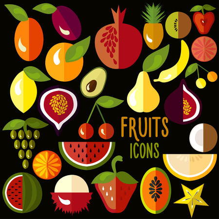 Fruit icons: vector set of flat colorful food signs Vector