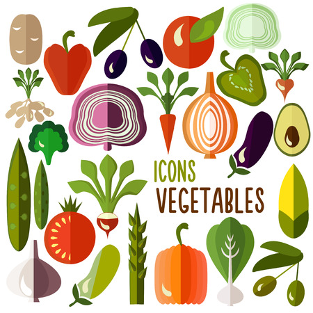 Vegetables icons: vector set of flat colorful food signs