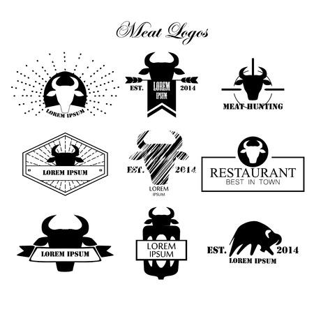 carnicería: Logotipos Carne, insignias, etiquetas y elementos de diseño. Vector.