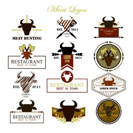farm shop: Meat logos, badges, labels and design elements. Vector. Illustration