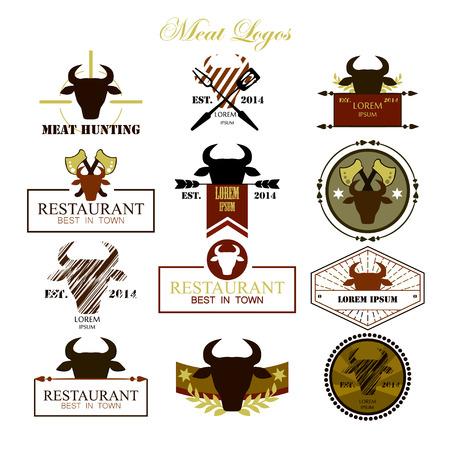 Meat logos, badges, labels and design elements. Vector. Illustration