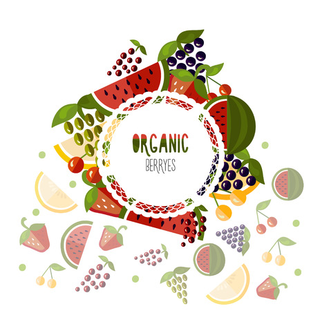 berryes: Label organic berryes on a white background. Vector illustration Illustration