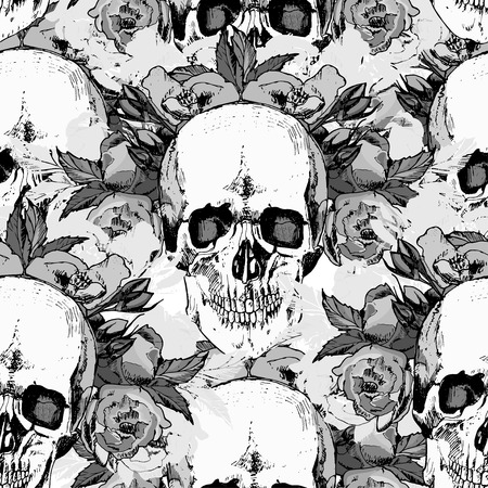 Pattern with skull. hand draw. Vector illustration.