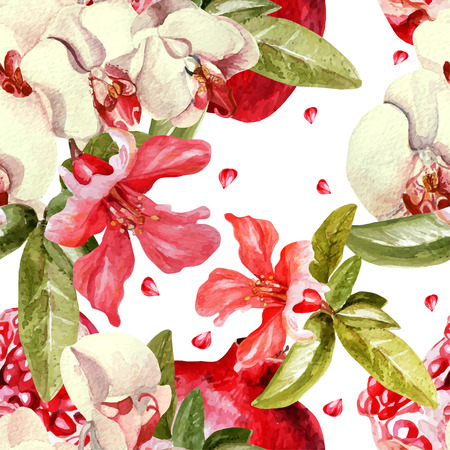 Pattern with pomegranates and orchid flowers. Vector.