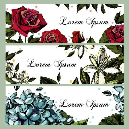 Biglietti d'invito con immagini di fiori. Rose, ortensie, fiori d'arancio. Posto per il testo. Vettore.