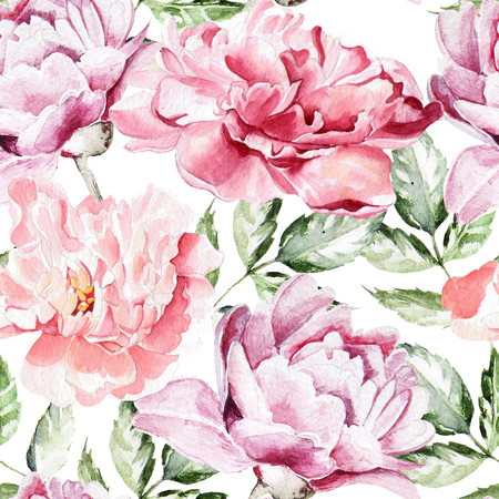 Seamless pattern with watercolor flowers.  Peonies. Illustration Banco de Imagens - 47756371