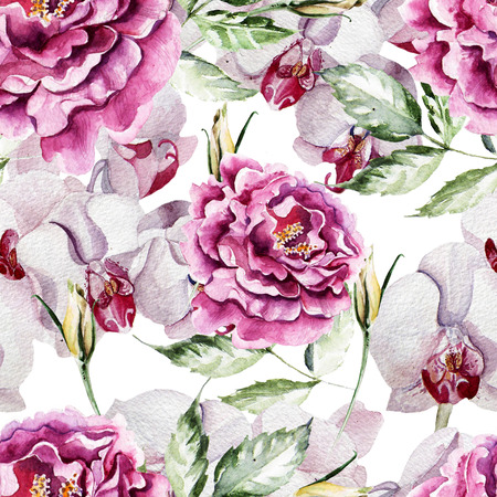 orchid: Pattern with delicate peony flowers and orchids on a white background. Stock Photo