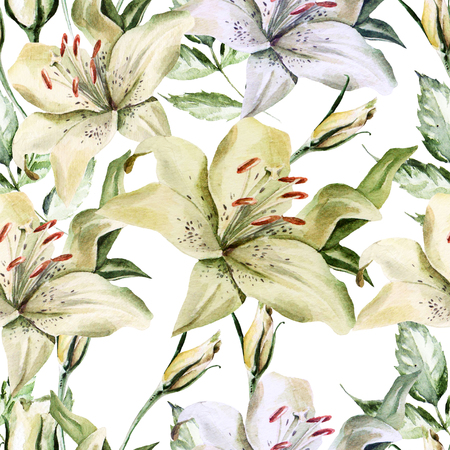 Romantic watercolor pattern with flowers lilies and roses.