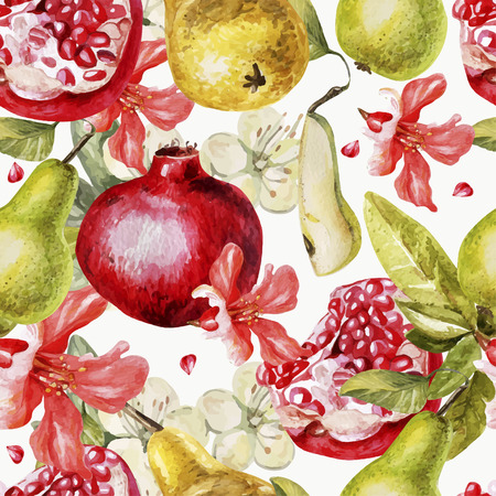 Beautiful watercolor pattern with fruits and flowers of pomegranate and pear. Vector.