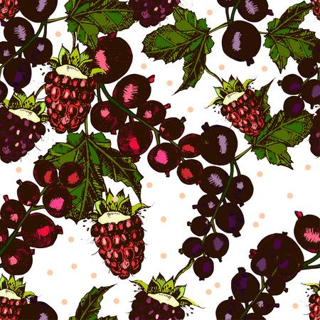 bog: beautiful pattern with berries, blackberries, raspberries, currants on a white background. Vector.