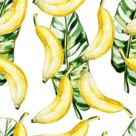 Watercolor pattern with bananas and leaves. Vector illustration Illustration