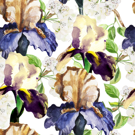 retro fashion: Seamless pattern with watercolor flowers. Iris.  Vector illustration