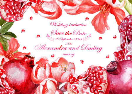 Watercolor wedding card with pomegranates and flowers, invitation. Vector illustration Stok Fotoğraf - 48084383