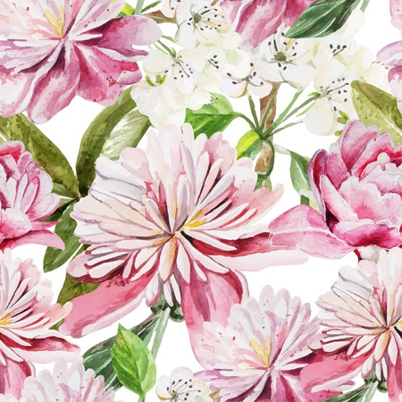 Seamless pattern with watercolor flowers.  Peonies. Vector illustration Illustration