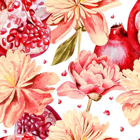 pomegranate: Seamless pattern with watercolor flowers, peonies and pomegranates. Vector illustration Illustration