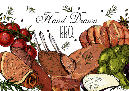 fresh meat: Fresh meat, hand drawn collection. Vector illustration Illustration