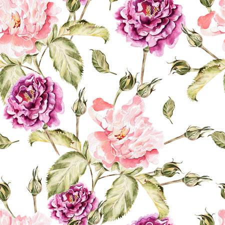 peony: Watercolor pattern with flowers, peonies and roses, buds and petals. Illustration Stock Photo