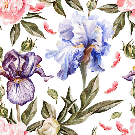 Watercolor pattern with flowers  iris, peonies and roses, buds and petals. Illustration