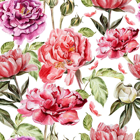 Seamless pattern with watercolor flowers.  Peonies. Illustration