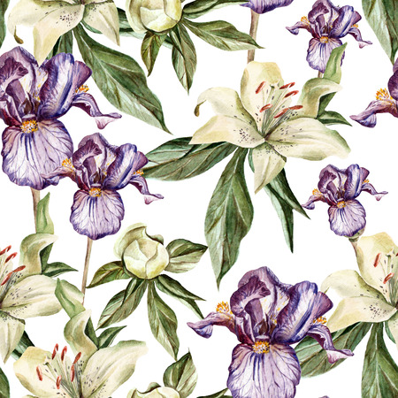 iris: Watercolor pattern with flowers  iris, peonies and lilies, buds and petals. Illustration