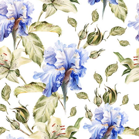 buds: Watercolor pattern with flowers iris, roses, buds and petals. Illustration
