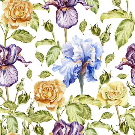 painting art: Seamless pattern with watercolor flowers. Rose and Iris.  Hand drawn. Stock Photo