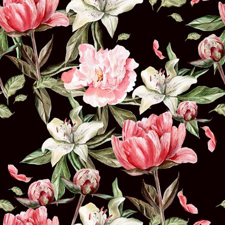 Aquarell Muster mit Blumen, Pfingstrosen und Lilien, Knospen und Blüten. Illustration