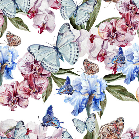 Beautiful watercolor pattern with butterflies and flowers orchid and iris. Illustration Фото со стока