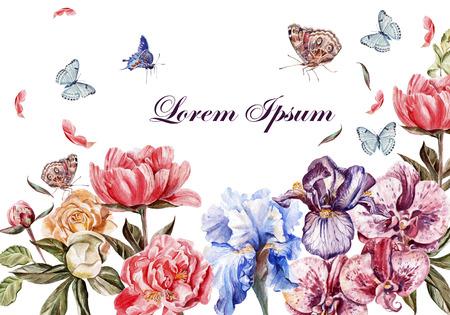 Mooie aquarel kaart met pioen bloemen, rozen en orchideeën bloeien. Vlinders en planten. Illustratie