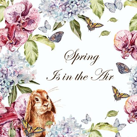 Mooie aquarel kaart met Hidrangeya, konijn en orchidee bloem. Vlinders en planten. Illustratie Stockfoto