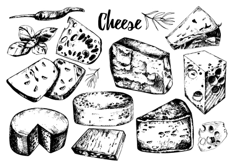 grated cheese: set with different cheeses.