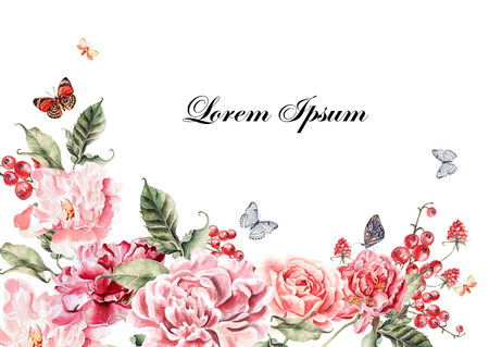 Beautiful watercolor card with peony flowers, roses and berries. Butterflies and plants. Illustration