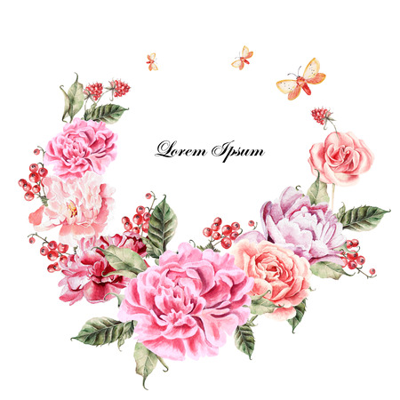 Beautiful watercolor card with Peony, roses flower and berries. Wedding wreath. Stock Photo