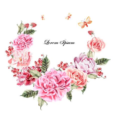 Mooie aquarel kaart met pioen, rozen bloeien en bessen. Bruiloft krans.