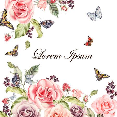 バラの花と果実の美しい水彩画カード。蝶や植物。 図