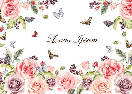 牡丹の花と蘭一辺種、ユリやチューリップ美しい水彩画カード。Butterflis、ベリーや植物。図