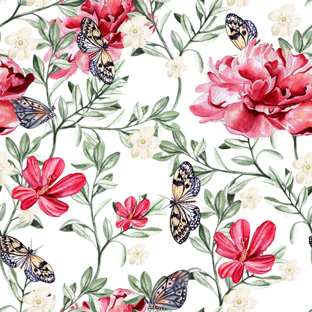 Pattern with watercolor realistic  chinese rose, peony and butterflies.  Illustration Banco de Imagens - 55934784