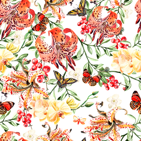 lily flowers: Romantic watercolor pattern with flowers lilies, orchids and berries.  Illustration