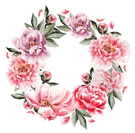 tarjeta de la acuarela hermosa con la flor del Peony. corona de la boda.