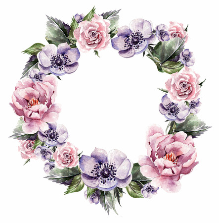 Beautiful watercolor card with Roses flowers and anemone.  Wedding wreath.
