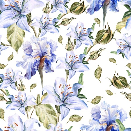 Watercolor pattern with flowers iris, roses, buds and petals. Illustration