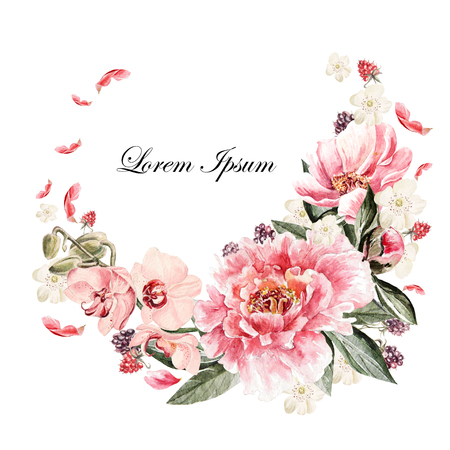 Beautiful watercolor card with Peony, orchid, roses flower and berries. Wedding wreath. Banco de Imagens