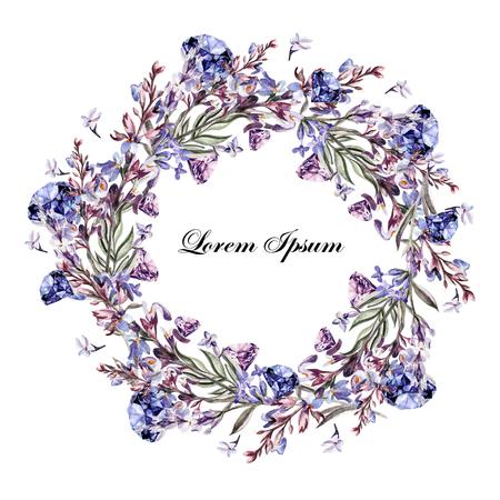 tarjeta de la acuarela hermosa con las flores y plantas de lavanda. Ilustración Foto de archivo