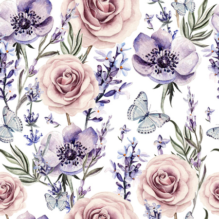 Watercolor pattern with the colors of lavender, roses and anemone. Illustrations