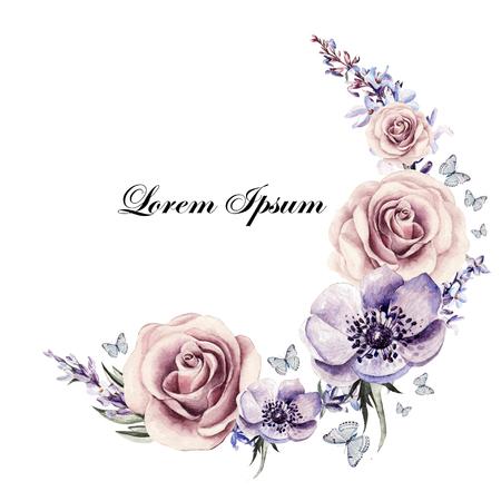 fiori di lavanda: Bella carta acquerello con fiori anemoni, lavanda e rose. Illustrazione Archivio Fotografico