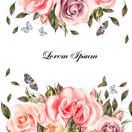 painting style: Beautiful watercolor card with rose flowers and leaves. Butterflies and plants.  Illustration Stock Photo