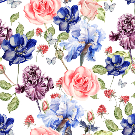 anemones: Beautiful colorful watercolor pattern with flowers iris, anemones, roses and raspberries. Illustrations
