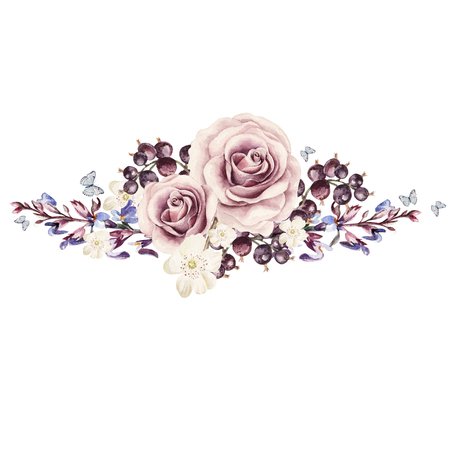 라벤더 꽃, 말미잘 및 로즈의 꽃다발. 수채화 삽화